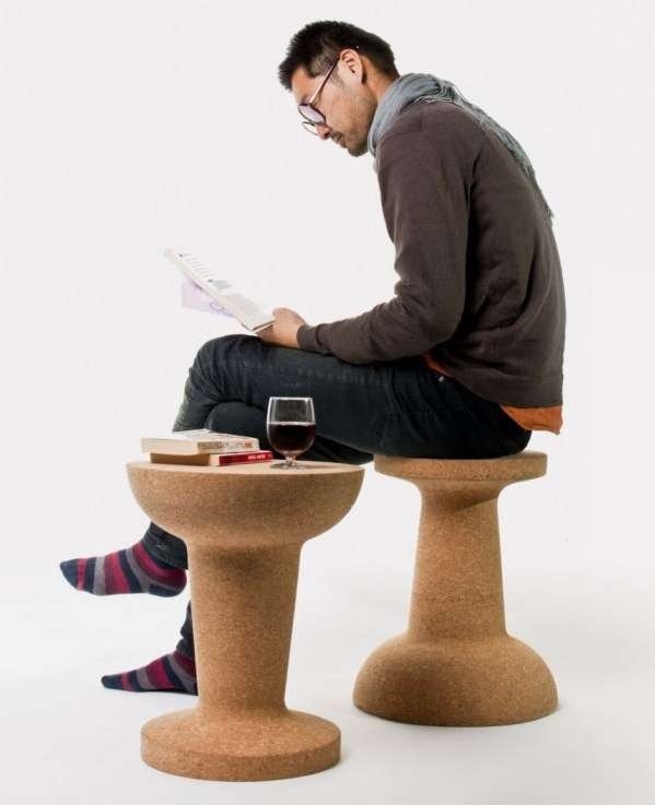 Pushpin Cork Stool by Kenyon Yeh