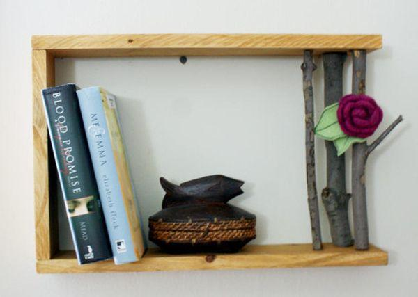 DIY Decorations Using Stuff Around You in the Fall - handmade wood tree branch shelf